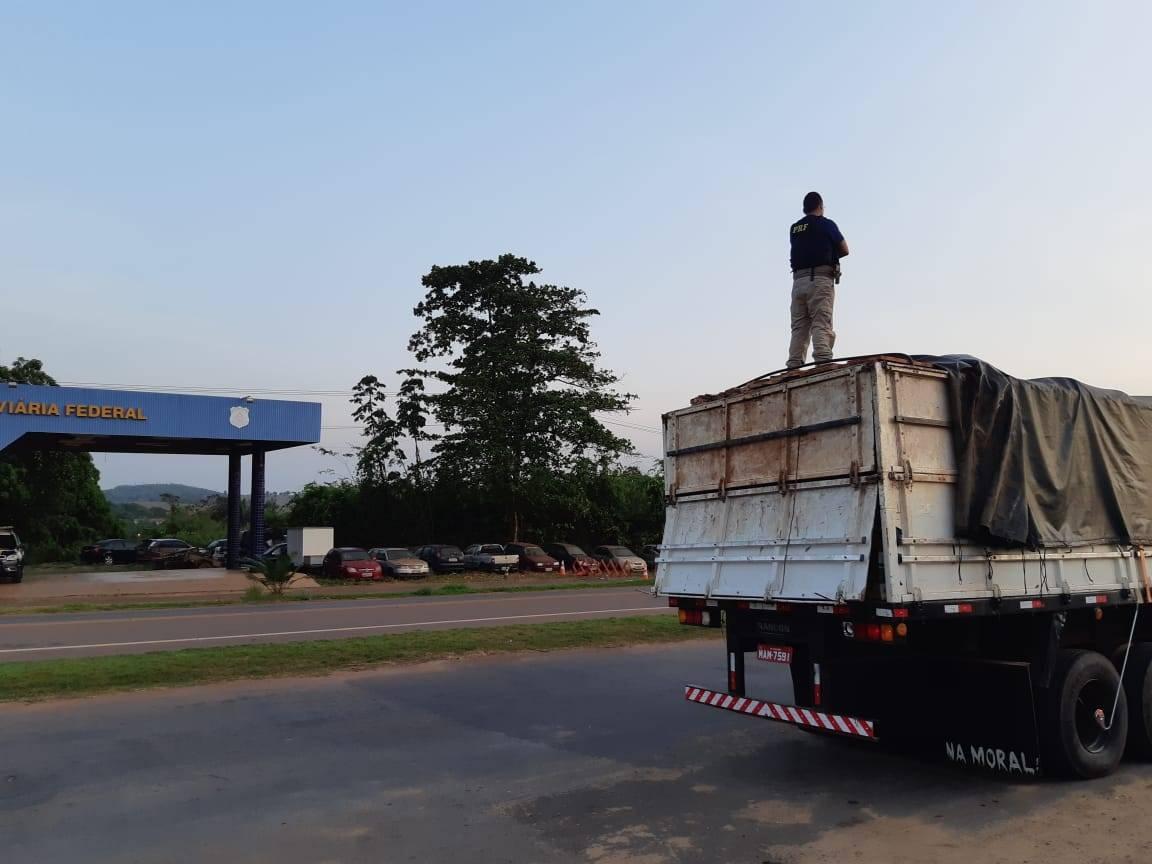 Photo of PRF apreende carga de madeira irregular na BR-222 em Açailândia (MA)