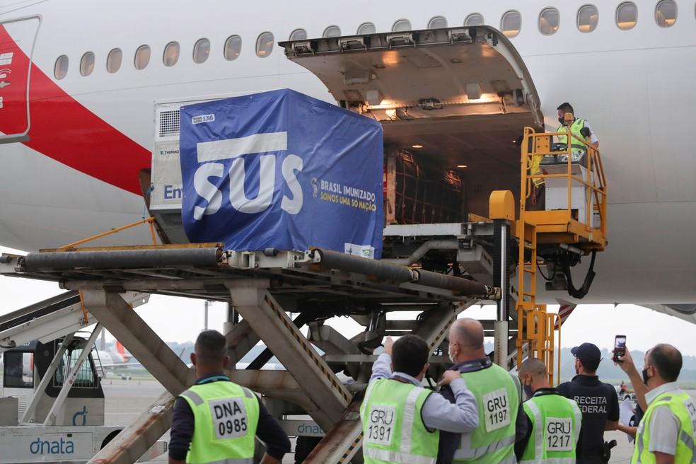 Avião com 2 milhões de doses de vacina da Índia chega ao Brasil